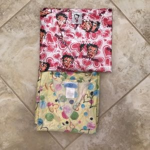 2 Betty Boop and Floral SB Scrub Top Bundle, Small